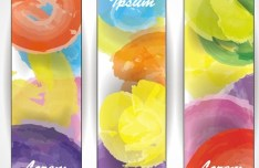 Splashed Watercolor Banner Set Vector