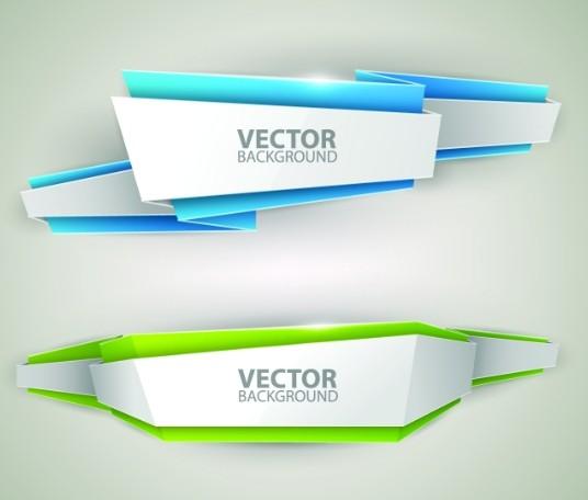 Creative Stylish Ribbon Banner Design Vector 04