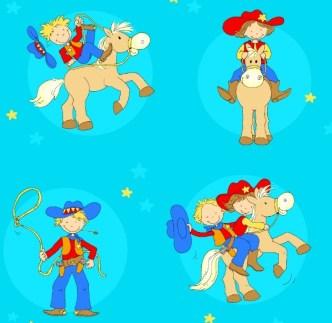 Cartoon Little Cowboy Vector