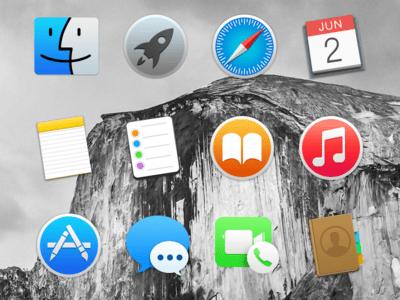 Mac OS X 10.10 Yosemite Dock Icons PSD