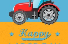 Tractor Vector Illustration For Happy Labor Day Design