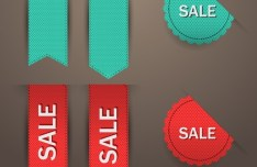 Woven Sale Ribbons & Badges Vector
