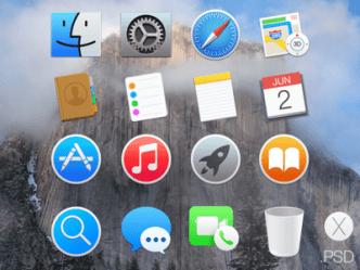 OS X Yosemite Dock Icons PSD