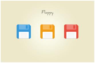 Flat Floppy Disk Icon Set PSD