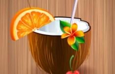 Natural Coconut Juice Vector Illustration