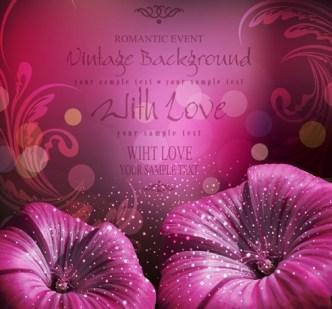 Elegant Flower Background For Romantic Event Vector 02