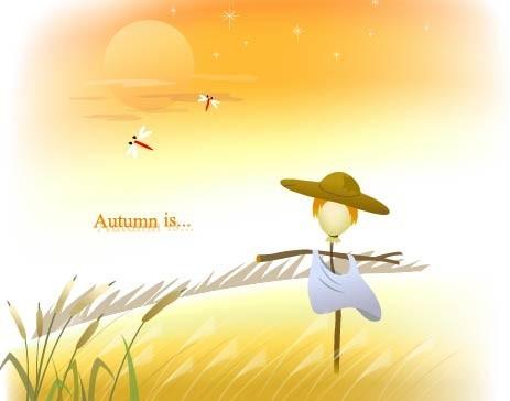 Autumn Scarecrow Scenery Vector
