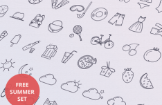 Summer Line Icon Set (AI+PSD)