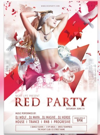 Red Party Flyer Template Vector PSD