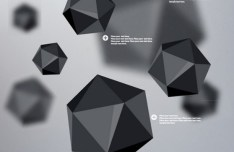 3D Black Polyhedron Background Vector
