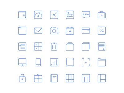 Blue Web Line Icon Set Vector