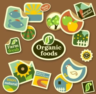 Organic Food Sticker Set Vector