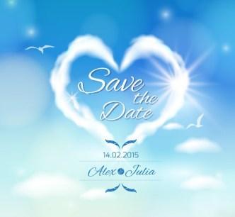Heart Cloud Wedding Background Vector