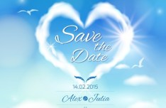 Heart Cloud Wedding Background Vector