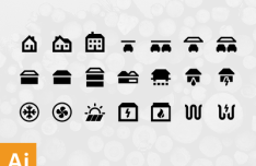 House Structure Icon Set Vector