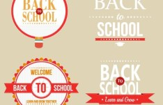 Red Back To School Label Set Vector