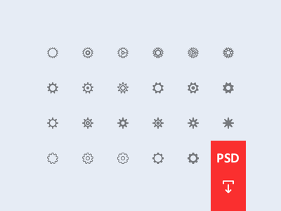 Cogwheel Icon Set PSD