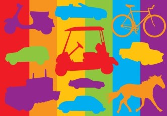 Colorful Transport Silhouettes Vector