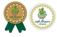 Floral Coffee Badges Vector