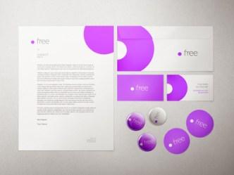White and Purple Stationery Mockup