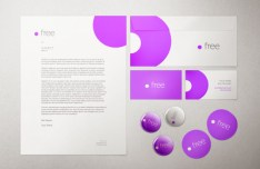White and Purple Stationery Mockup