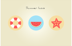 Cute Flat Summer Icon Set PSD