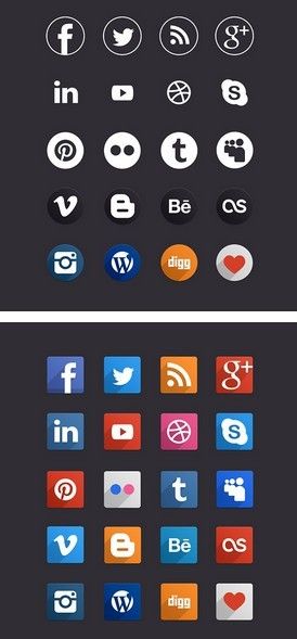 Flat Long Shadow Social Icons (Circular+Rounded)