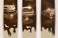 Vertical Chocolate Cake Banner Templates Vector