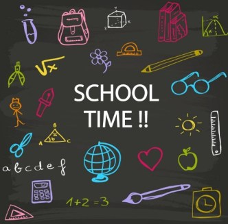 Hand Drawn School Time Elements Vector