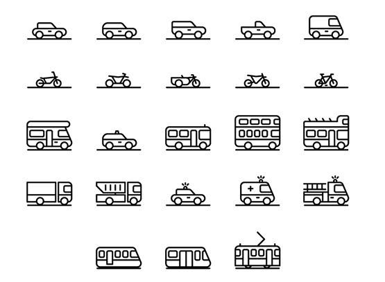 71 Traffic & Transportation Icons Vector