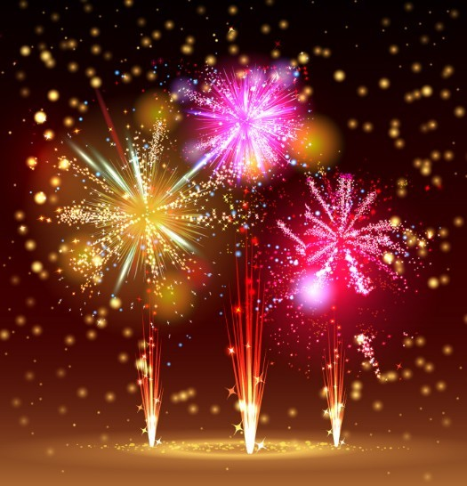 Colorful Holiday Fireworks Vector