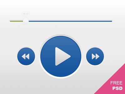 Audio Player Controls PSD