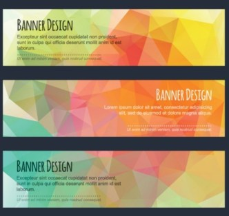 Colorful Low Polygon Banner Design Vector Vol.1