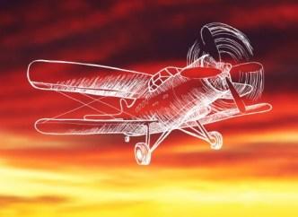 Hand Drawn Propeller Aircraft Vector Lineart Vector