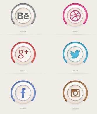Semi 3D Social Media Icons PSD