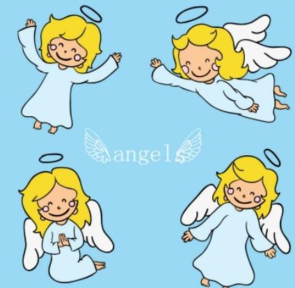 Cute Cartoon Heaven Angles Vector