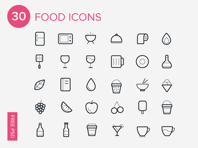 30 Food Line Icons Vector
