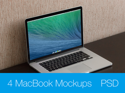 4 MacBook Pro Retina Mockups PSD