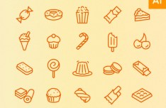 Dessert Line Icons Set Vector