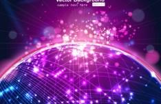 Sparkling Technology Globe Vector