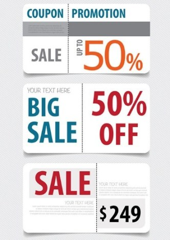 Nice Clean Coupon & Promotion Label Set Vector