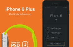 iPhone 6 Plus Flat Scalable Mockup PSD