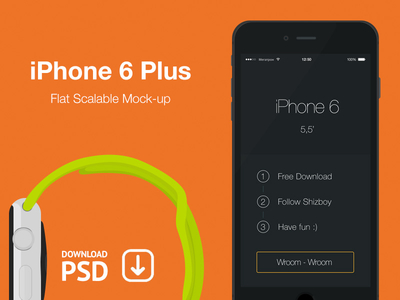 iPhone 6 Plus Flat Scalable Mockup PSD
