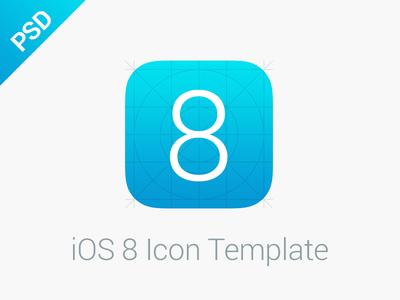 iOS 8 Icon Grid Template PSD