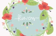 Vintage Watercolor Flowers Vector