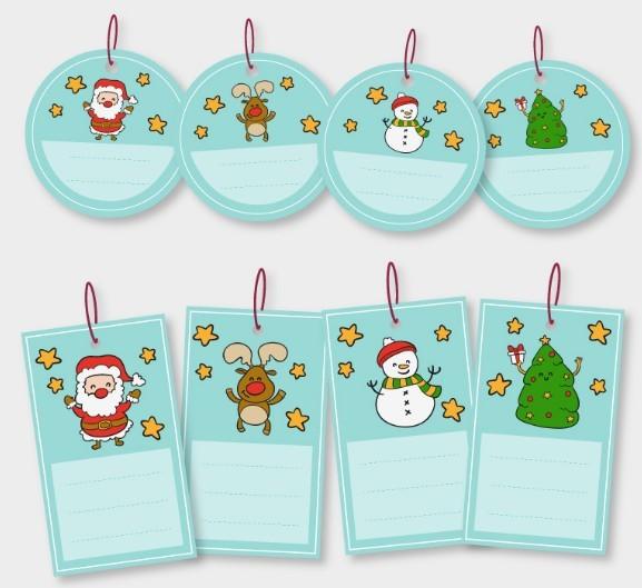 Cartoon Blue Christmas Sticker Set Vector