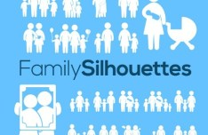 20 Family Silhouettes Vector