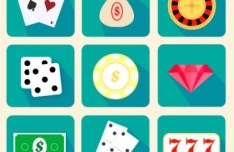 9 Flat Long Shadow Rounded Casino Icons Vector