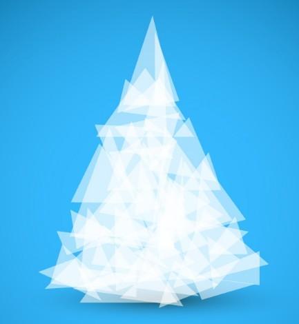 White Abstract Polygon Christmas Tree Vector