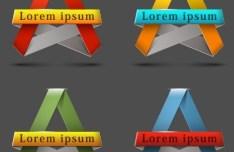 3D Ribbon Label Set Vector